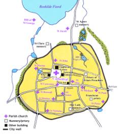 Reconstructed city map of medieval Roskilde. Click for larger image.